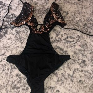 Victoria's Secret Swim - Victoria's Secret black one piece with gold sequin